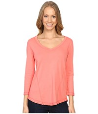 Mod O Doc Supreme Jersey Seamed V Neck Long Sleeve Tee Cali Coral Women's T Shirt Pink