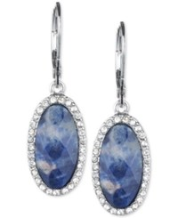 Lonna And Lilly Silver Tone Blue Stone Pave Oval Drop Earrings