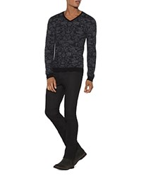 John Varvatos Star Usa Pixelated Stitch V Neck Sweater Black
