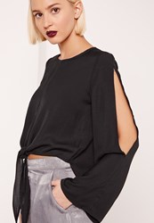 Missguided Tie Front Flare Split Sleeve Blouse Black
