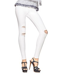 Hue Ripped Knee Denim Leggings White