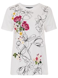 French Connection Peonie Stitch Short Sleeve T Shirt White Multi