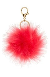Women's Robert Rose Faux Fur Pompom Bag Charm Pink Hot Pink Gold