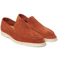 Loro Piana Summer Walk Suede Loafers Orange