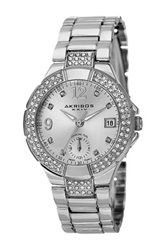 Akribos Xxiv Women's Swiss Quartz Diamond Markers Dual Time Bracelet Watch Metallic