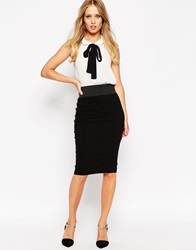 Asos Elastic Waist Pencil Skirt In Longer Length Black