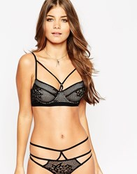 Asos Patsy Fishnet Lace Caged Underwire Bra Black