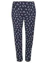 Evans Navy Printed Tapered Trouser