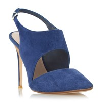 Dune Caprice Stiletto Slingback Court Shoes Navy