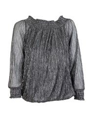 Feverfish Glitter Chiffon Top Black