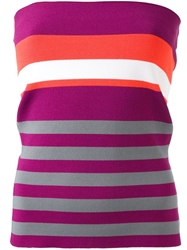 Erika Cavallini Semi Couture Striped Strapless Top Pink And Purple
