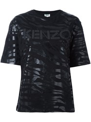 Kenzo Tiger Striped T Shirt Black