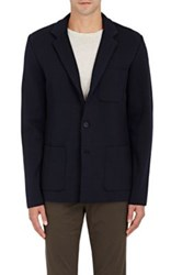 Vince. Men's Compact Knit Wool Blend Three Button Sportcoat Navy