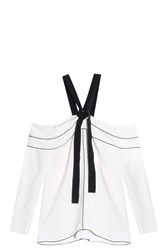 Proenza Schouler Cold Shoulder Top White