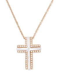 Small 18K Rose Gold Cross Necklace With Mother Of Pearl And Diamonds Frederic Sage Pink