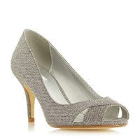 Untold Delamare Cross Over Peep Toe Court Shoes Pewter
