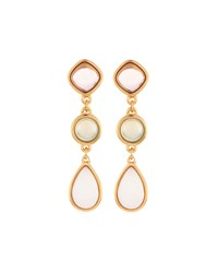 Nakamol Long Golden Triple Drop Stone Earrings Women's