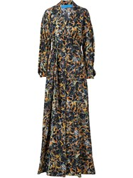 Jonathan Cohen Waist Band Sunflower Print Dress Black