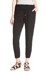 Splendid Women's Roll Waist Voile Jogger Pants Black