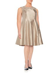 Lafayette 148 New York Plus Size Kristen Lace Detail Cotton And Silk Dress Umber