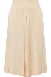 Stella Mccartney Kerry Pleated Satin Cady Skirt White
