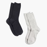Madewell Two Pack Ribbed Heather Trouser Socks Grey Black