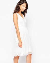 Vero Moda Deep V Skater Dress Snowwhite