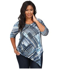 Karen Kane Plus Size Blue Diamond Asymmetrical Hem Tee Print Women's T Shirt Multi