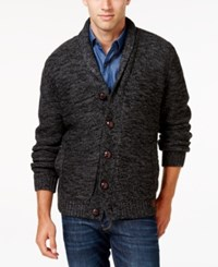 Weatherproof Vintage Men's Big And Tall Marled Lined Shawl Collar Cardigan Charcaol Heather