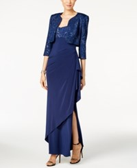 Alex Evenings Petite Glitter Gown And Jacket Blue