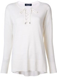 Magaschoni Lace Up Round Neck Jumper White