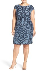 Adrianna Papell Plus Size Women's Cap Sleeve Sequin Lace Sheath Dress