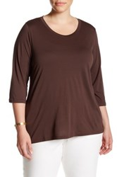 Susina 3 4 Length Sleeve Scoop Neck Tee Plus Size Brown
