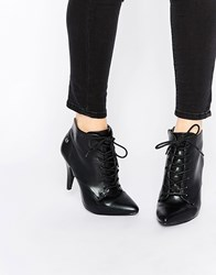 Blink Lace Up Point Heeled Ankle Boots Black Lambskin Pu