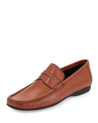 Bruno Magli Partie Perforated Penny Loafer Cognac Red