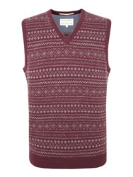 Racing Green Burne All Over Fairisle V Neck Tank Red