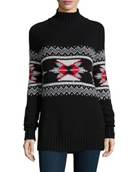 Autumn Cashmere Fair Isle Mock Neck Cashmere Blend Sweater