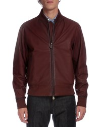 Berluti Full Zip Leather Bomber Jacket Brown