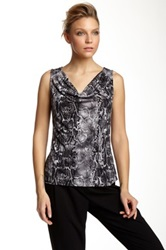 Laundry By Shelli Segal Printed Cowl Neck Tank Gray