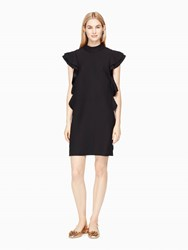 Kate Spade Satin Crepe Flutter Sleeve Dress Black