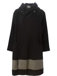 Zucca Hooded Double Breasted Coat Black
