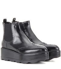 Prada Brogue Leather Ankle Boots Black