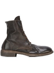 Guidi Distressed Lace Up Boots Brown