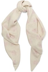 The Elder Statesman Printed Cashmere Scarf Cream