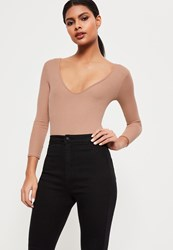 Missguided Tall Nude V Neck Ribbed Long Sleeve Bodysuit