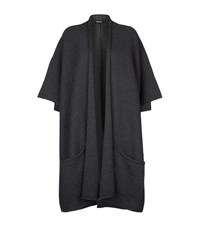 Eskandar Textured Merino Wool Long Cardigan Female Grey