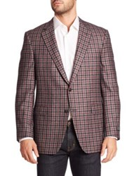 Saks Fifth Avenue Checkered Wool Blend Single Breasted Blazer Light Grey