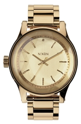 Nixon 'The Facet' Round Bracelet Watch 42Mm All Gold