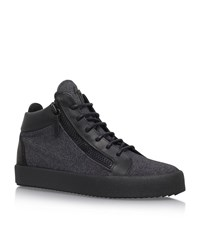 Giuseppe Zanotti Mid Top Flannel Sneakers Male Grey