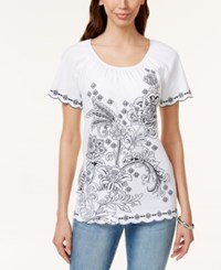 Karen Scott Embroidered Short Sleeve Peasant Top Only At Macy's Bright White